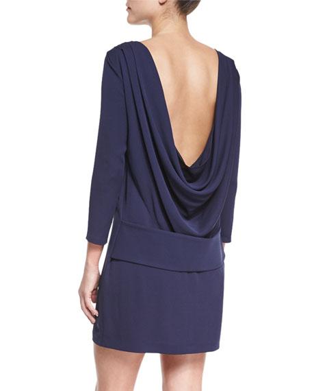 Draped-Back Silk Georgette Dress, Ink