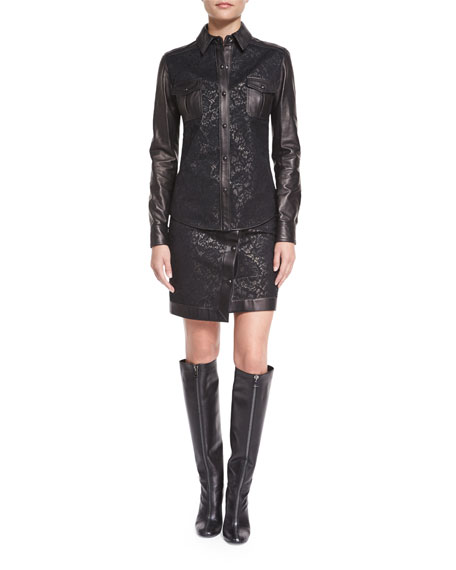 TOM FORD Lace & Leather Western Shirt, Black