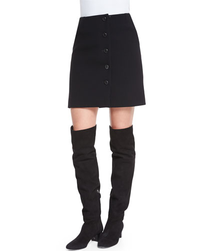 Button-Front Mini Skirt, Black