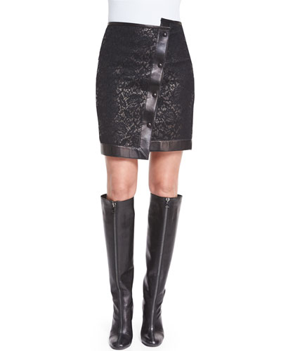 Asymmetric Lace & Leather Mini Skirt, Black