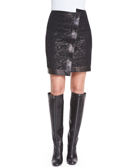 TOM FORD Asymmetric Lace & Leather Mini Skirt,