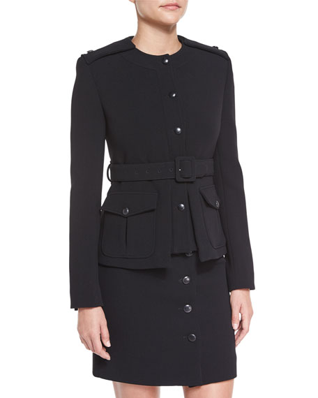 TOM FORD Fitted Military Belted Jacket, Black