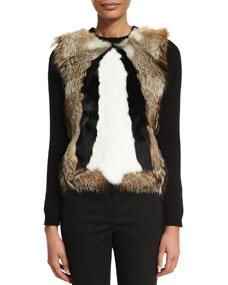 tom ford long sleeve patterned fur pullover black. Black Bedroom Furniture Sets. Home Design Ideas