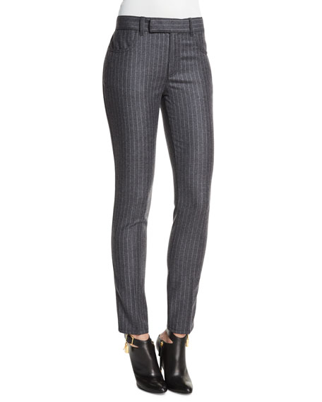 TOM FORD Mid-Rise Pinstripe Skinny Pants, Charcoal Gray