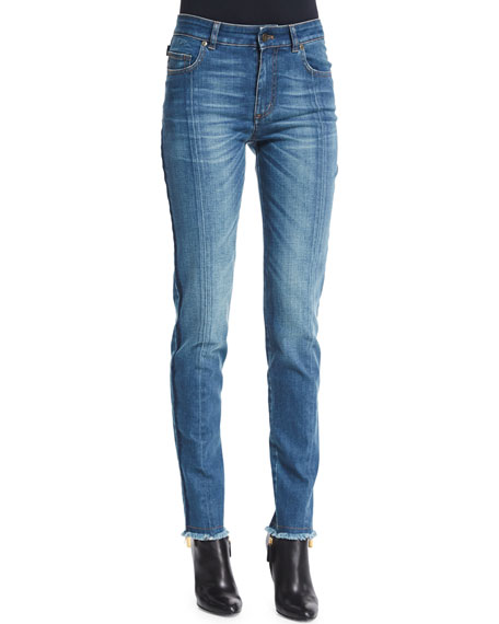 TOM FORD High-Waist Patchwork-Panel Jeans, Blue