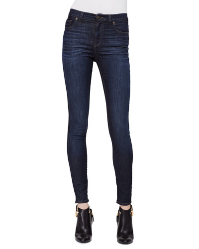 High-Waist Skinny Jeans, Dark Blue