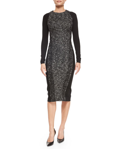 Donna Karan Needlepunch Paneled Sheath Dress