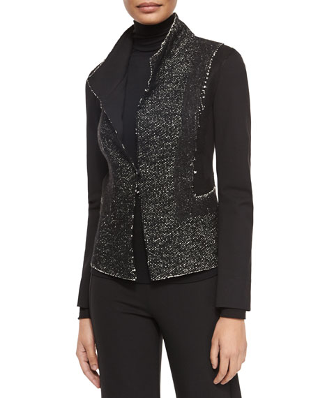 Donna Karan Tweed & Jersey Structured Jacket