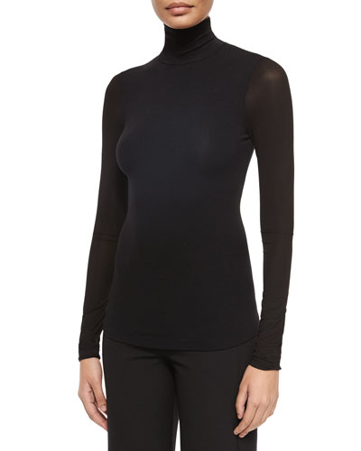 Long-Sleeve Jersey Turtleneck Top