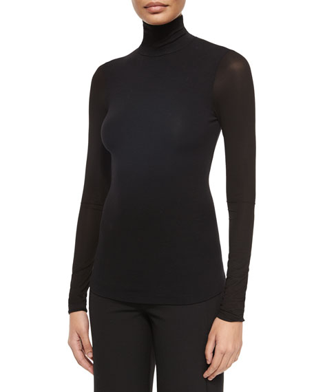 Donna Karan Long Sleeve Jersey Turtleneck Top Neiman Marcus