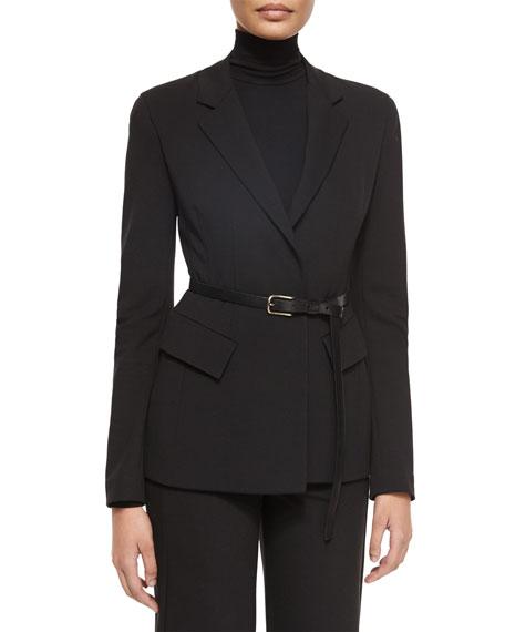 Donna Karan Belted Peplum Notched-Lapel Jacket