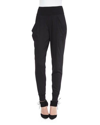 Pleated-Front Pants with Cuffs, Black