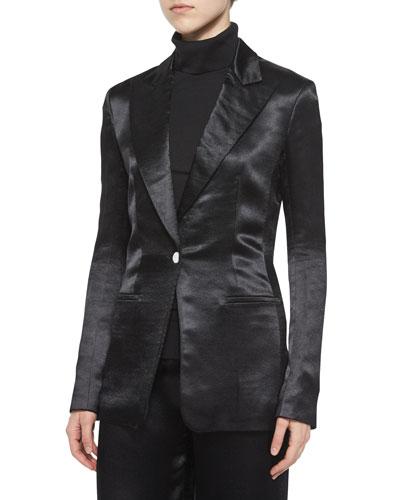 Ibner Satin Tuxedo Jacket, Sabina Tissue Turtleneck & Misa Satin Wide-Leg Pants