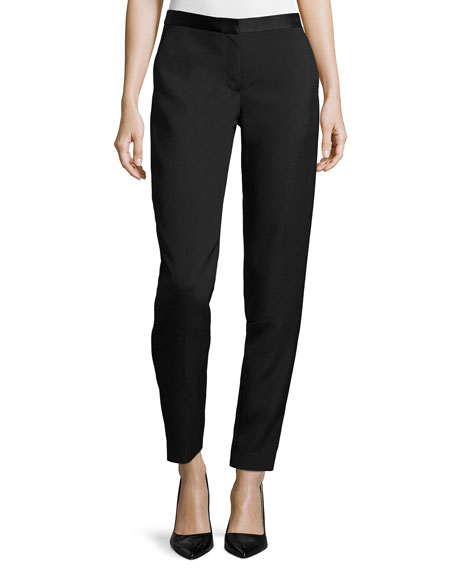 THE ROW Locu Zip-Front Tapered Pants, Black