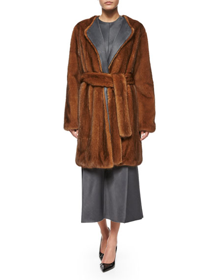 THE ROW Narston Mink Fur Tie-Waist Coat, Copper