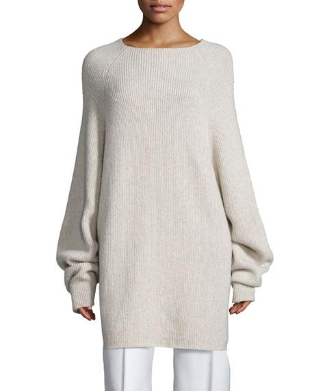 THE ROW Kandel Oversize Cashmere Sweater, Stone Melange
