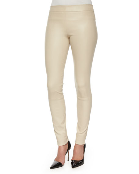 THE ROW Moto Leather Leggings, Rose Cream