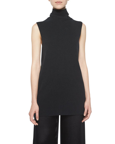 THE ROW Leona Sleeveless Turtleneck Top, Black