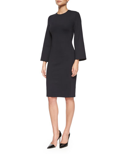 Kenning 3/4-Sleeve Scuba Sheath Dress, Black