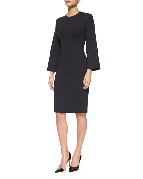 THE ROW Kenning 3/4-Sleeve Scuba Sheath Dress, Black