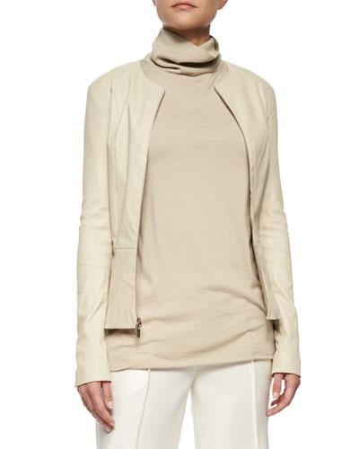 Anasta Leather Zip-Front Jacket, Rose Cream