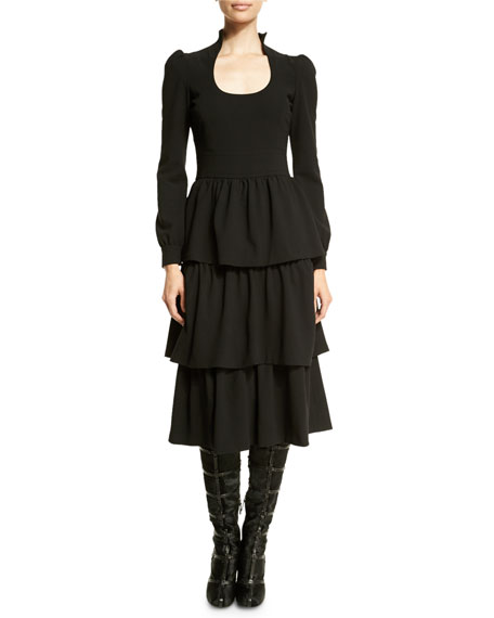 TOM FORD Long-Sleeve Tiered-Skirt Dress, Black