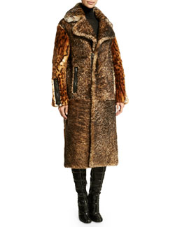 Oversized-Collar Fur Coat, Brown/Black