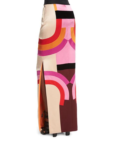 Pieced Deco-Patchwork Column Skirt, Nude/Multi