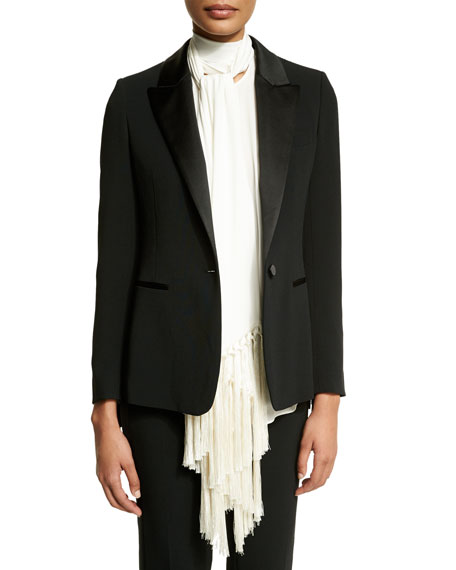 TOM FORD One-Button Long-Sleeve Jacket W/Fringe, Black