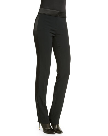 TOM FORD Flat-Front Slim-Leg Tuxedo Pants, Black