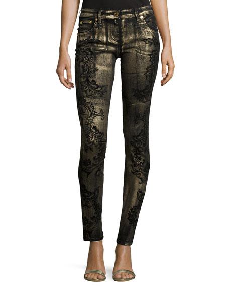Roberto CavalliSkinny-Leg Metallic Printed Jeans, Oro/Nero