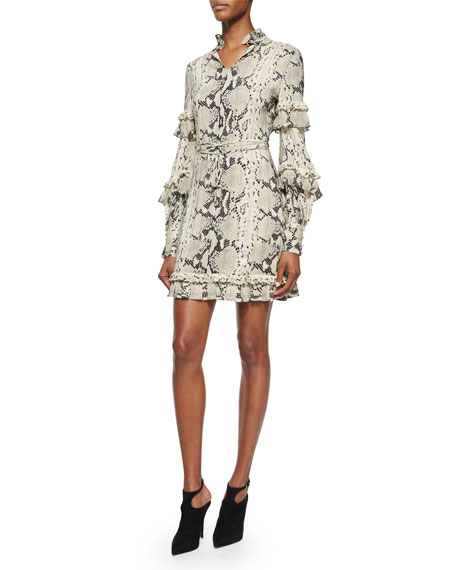 Roberto Cavalli Long-Sleeve Snake-Print Ruffle Dress, Roccia