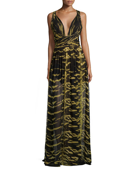 Roberto Cavalli V-Neck Crisscross Animal-Print Gown