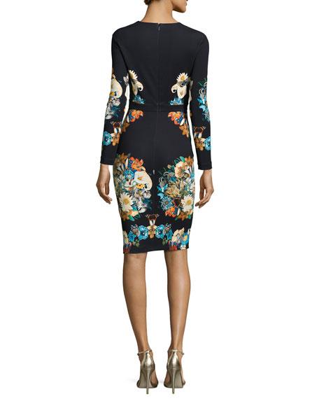 Lace-Trimmed Floral-Print Sheath Dress