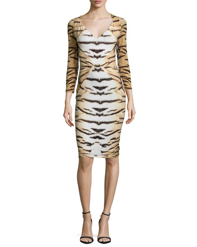 Tiger-Print 3/4-Sleeve Gathered Sheath Dress
