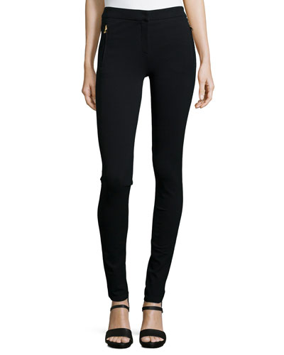 Zip-Pocket Stretch Leggings