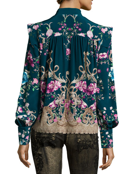 Long-Sleeve Floral-Print Chiffon Blouse, Teal