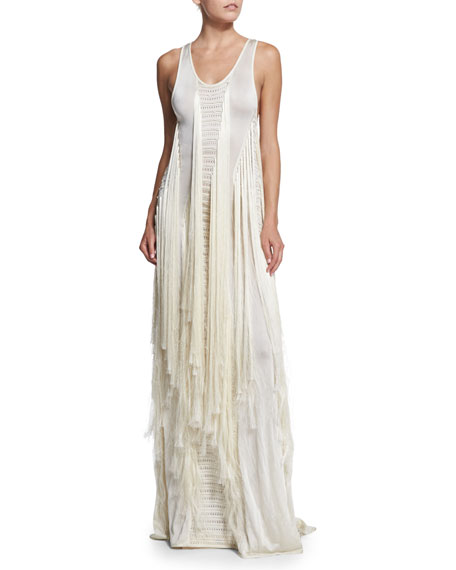 Roberto CavalliSleeveless Long-Fringe Gown, Off White