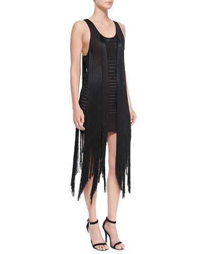 Open-Back Fringe Tank Dress