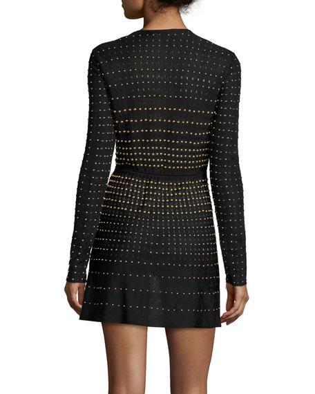 Roberto Cavalli Long-Sleeve Embellished Mini Dress, Nero