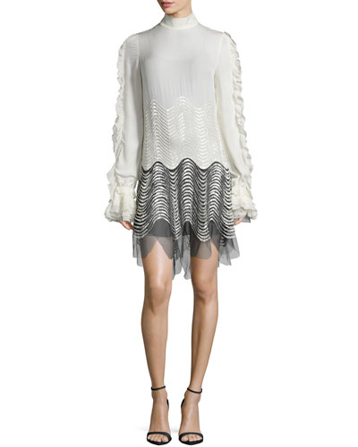 Long-Sleeve Mock-Neck Ruffle Dress, Bianco/Nero