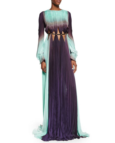 Long-Sleeve Ombre Gown W/Cutouts, Viola Scuro