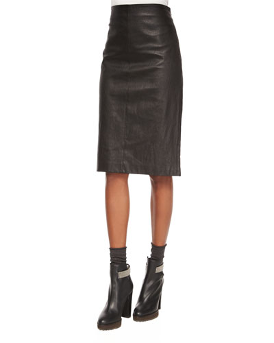 Leather Pencil Skirt, Black