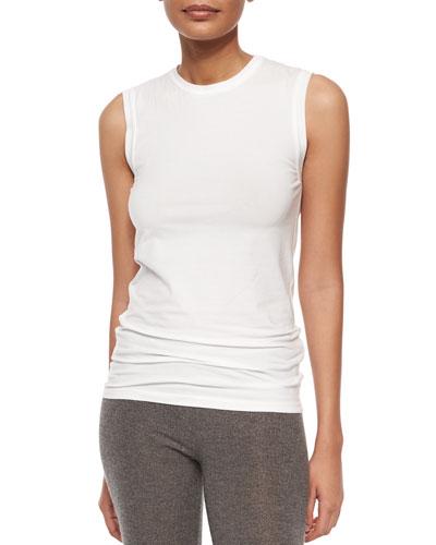 Sleeveless Basic T-Shirt, White
