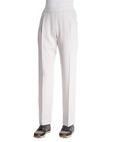 Brunello Cucinelli Pleated Straight-Leg Pants, Granite