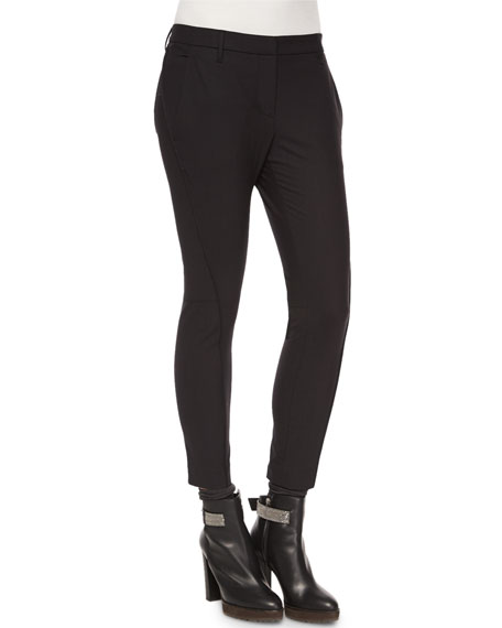 Curved Seamed Riding Pants, Black