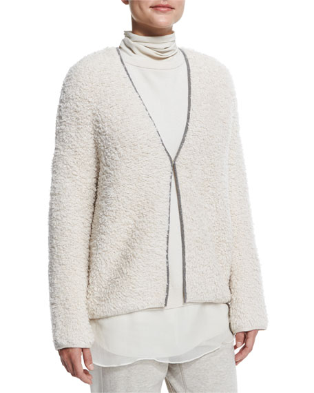 Brunello Cucinelli Monili-Chain Trimmed Cardigan, Orzo