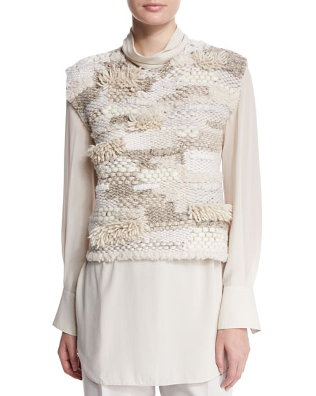 Brunello Cucinelli Jewel-Neck Sleeveless Cropped Sweater, Macadamia