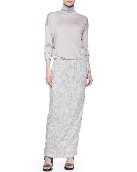Brunello Cucinelli Long-Sleeve Embroidered Combo Gown, Dove