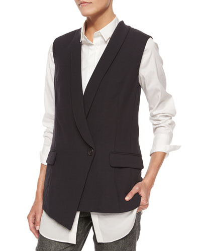 Asymmetric One-Button Vest